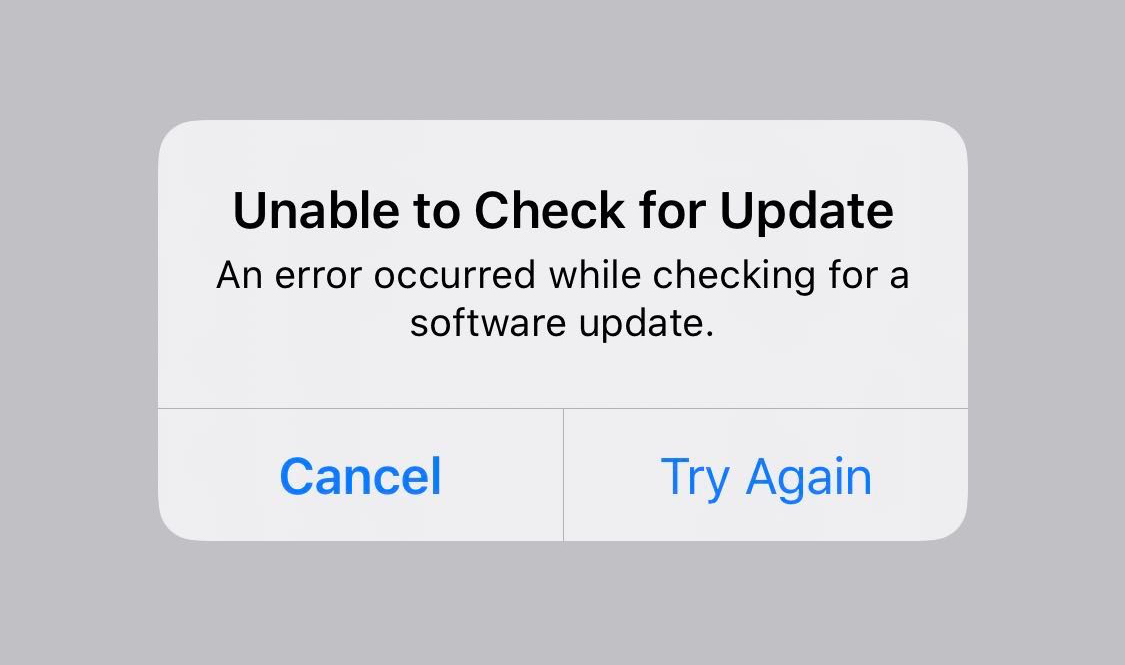 Unable to Check for Update Error iPhone