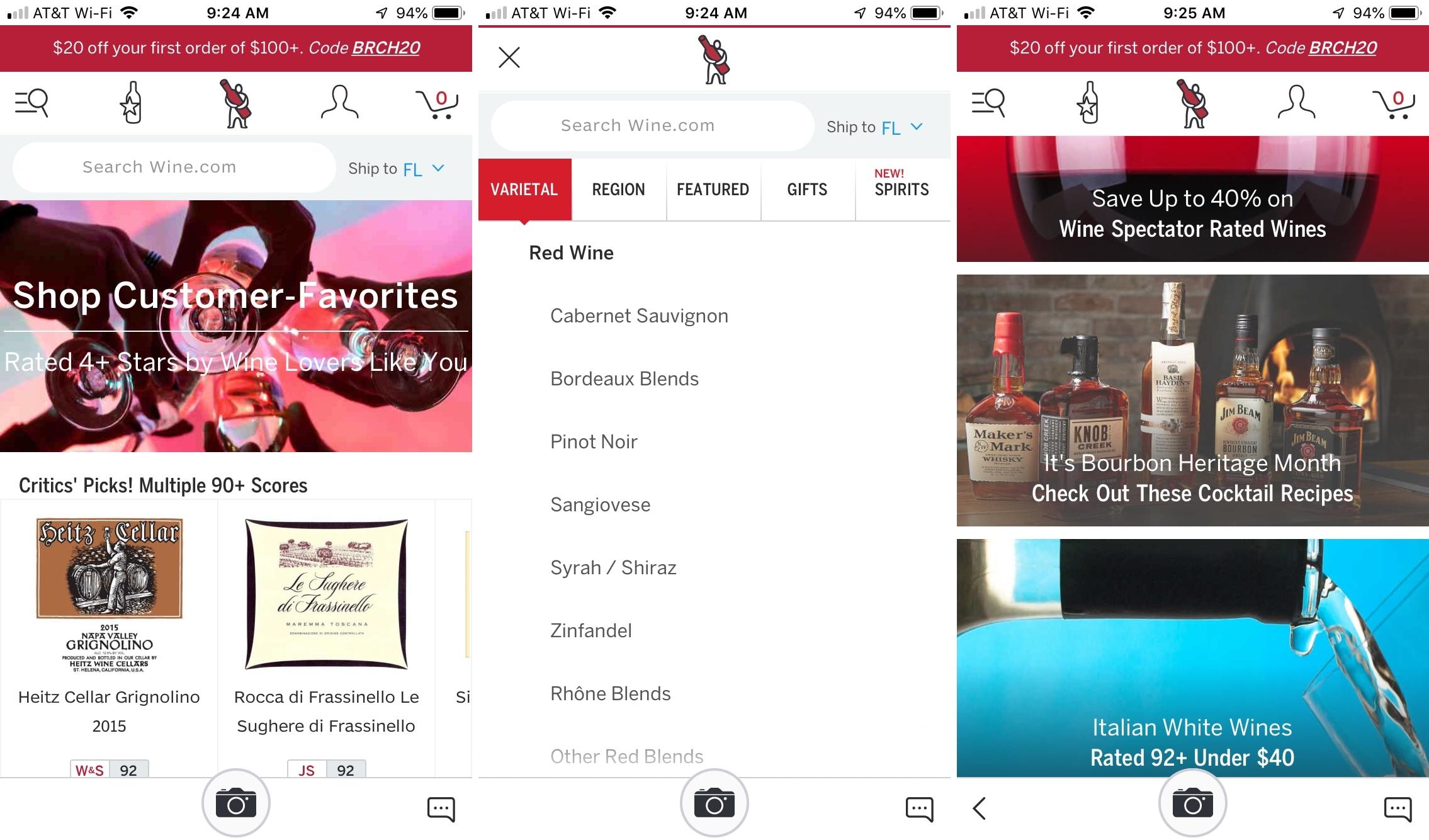 WineDotCom en iPhone