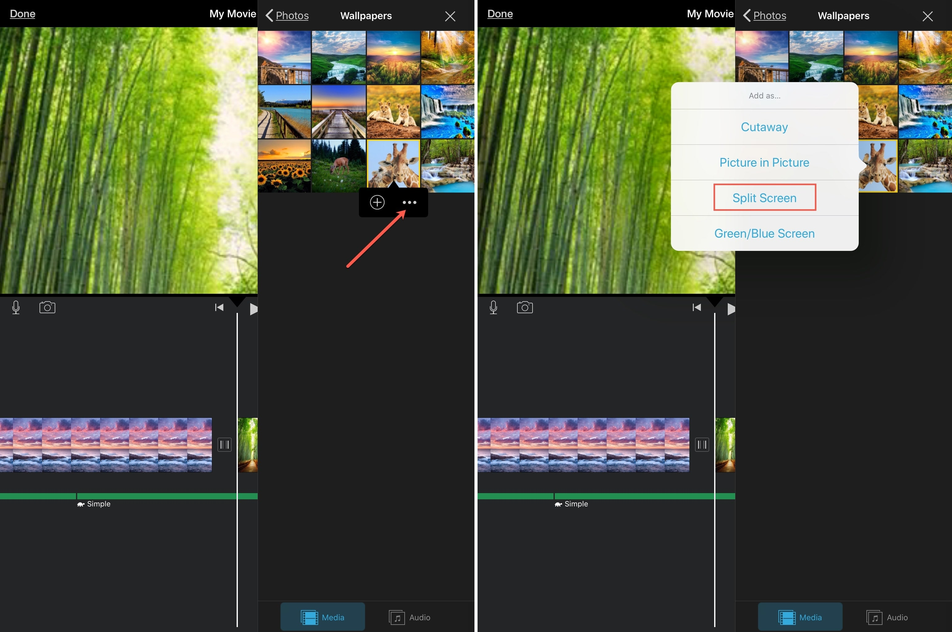 iMovie Add Clip for Split Screen iPad