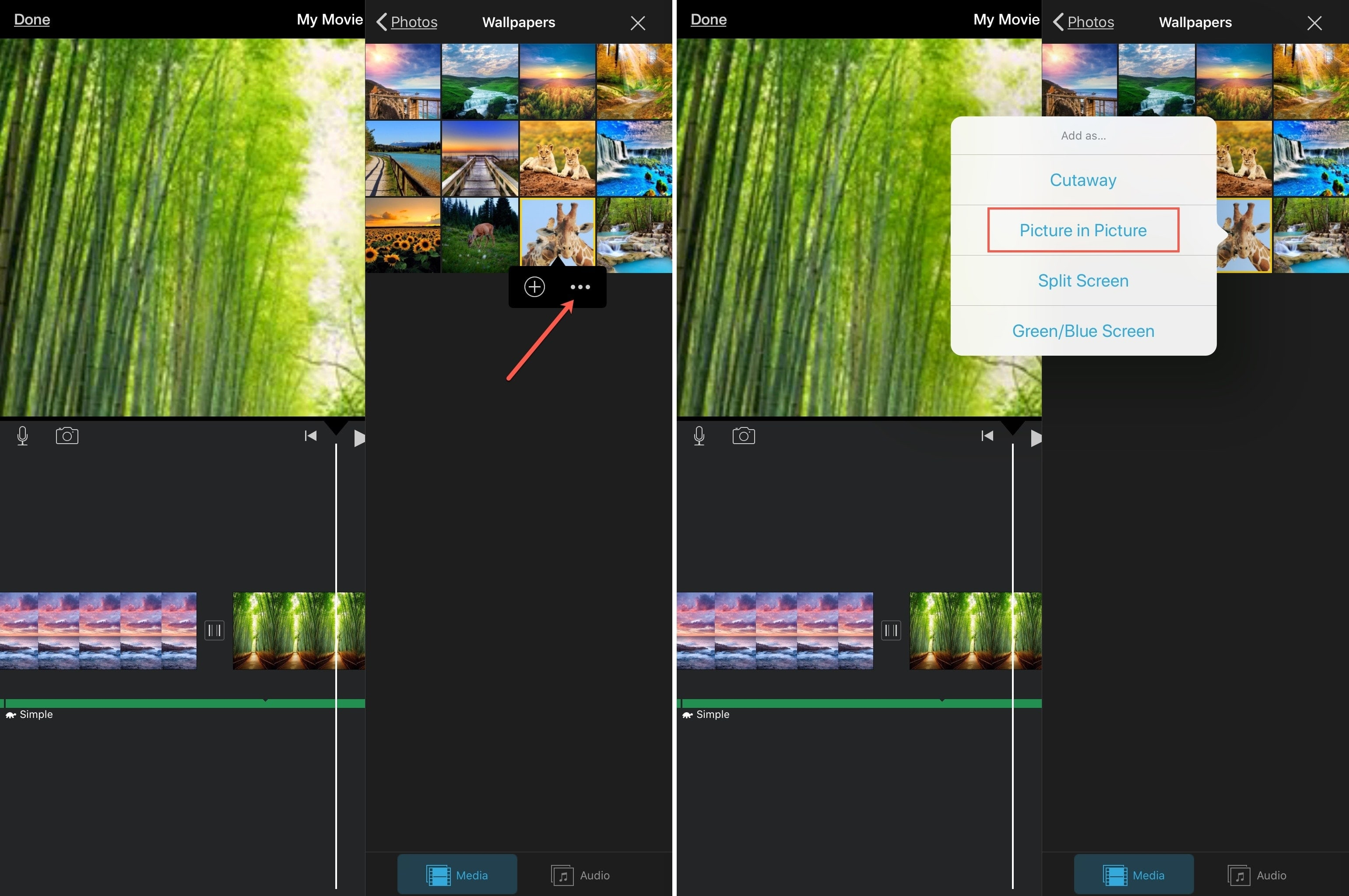 iMovie Create Picture in Picture iPad