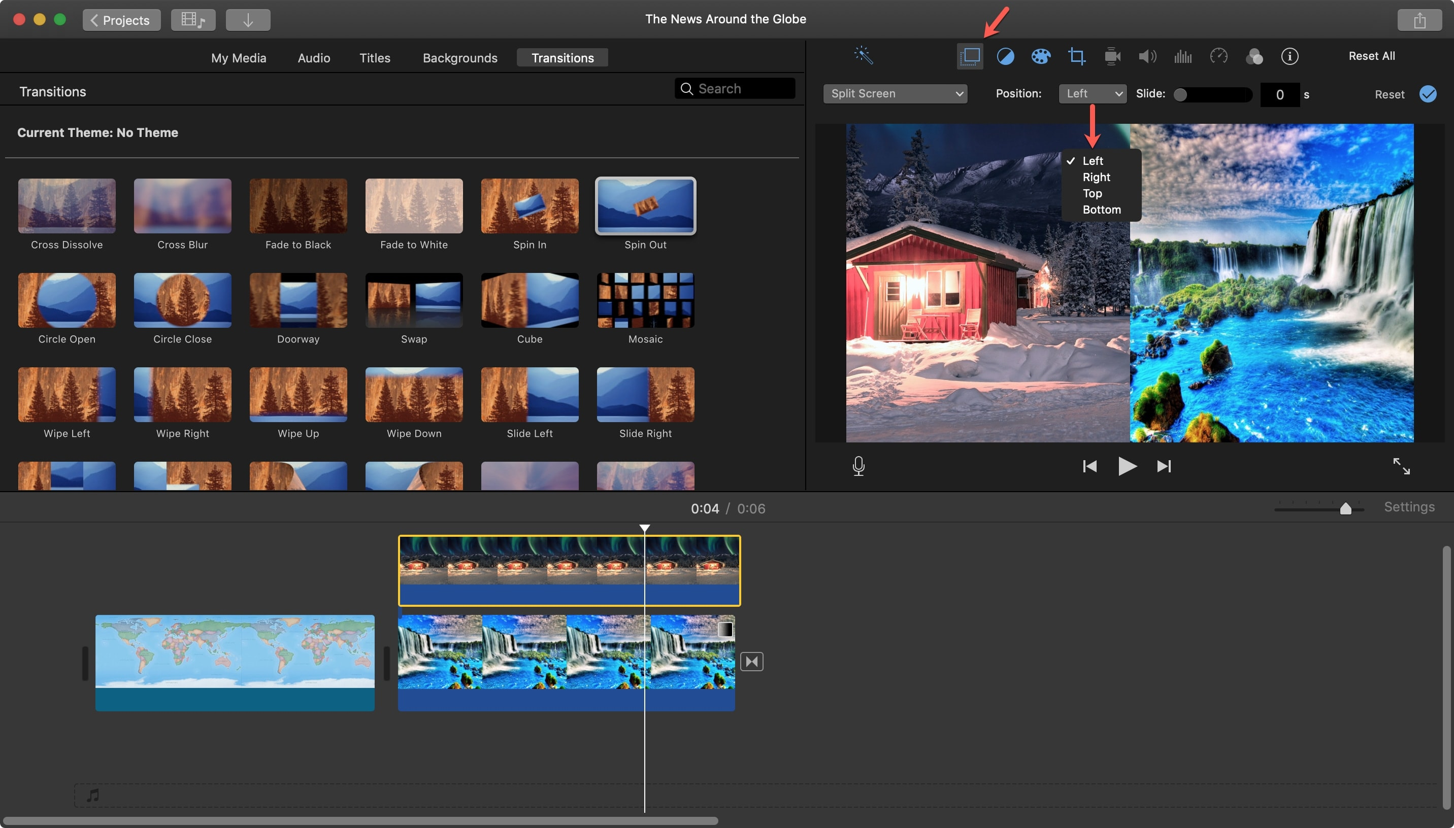 iMovie Split Screen Position Mac