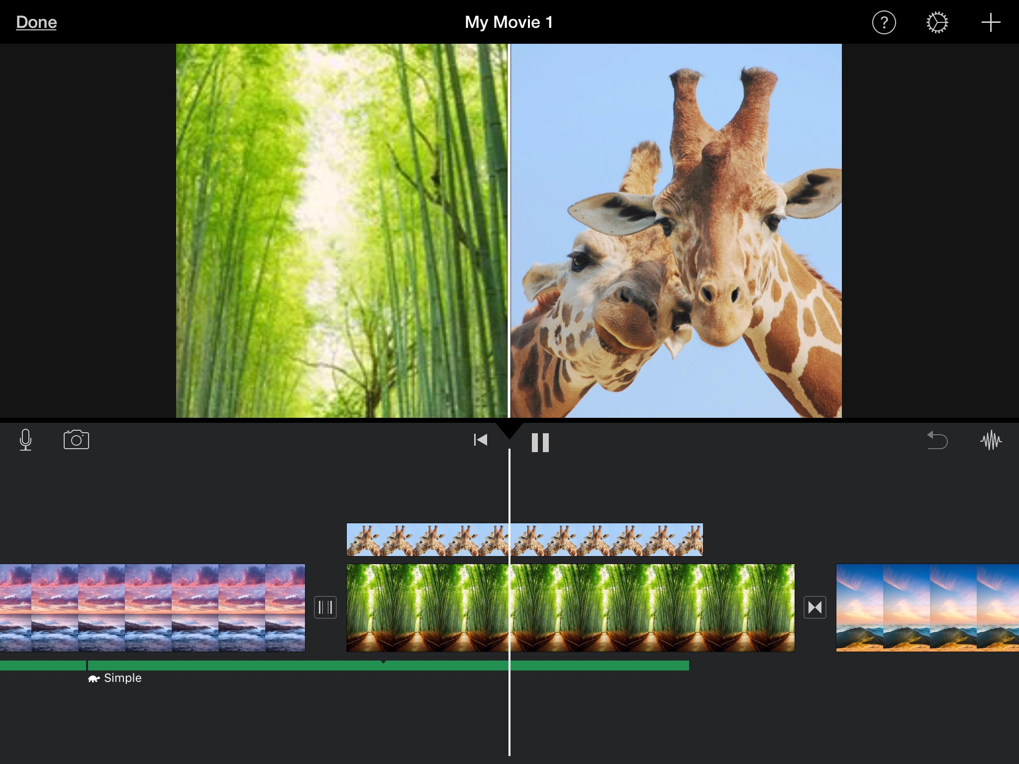 iMovie Split Screen on iPad