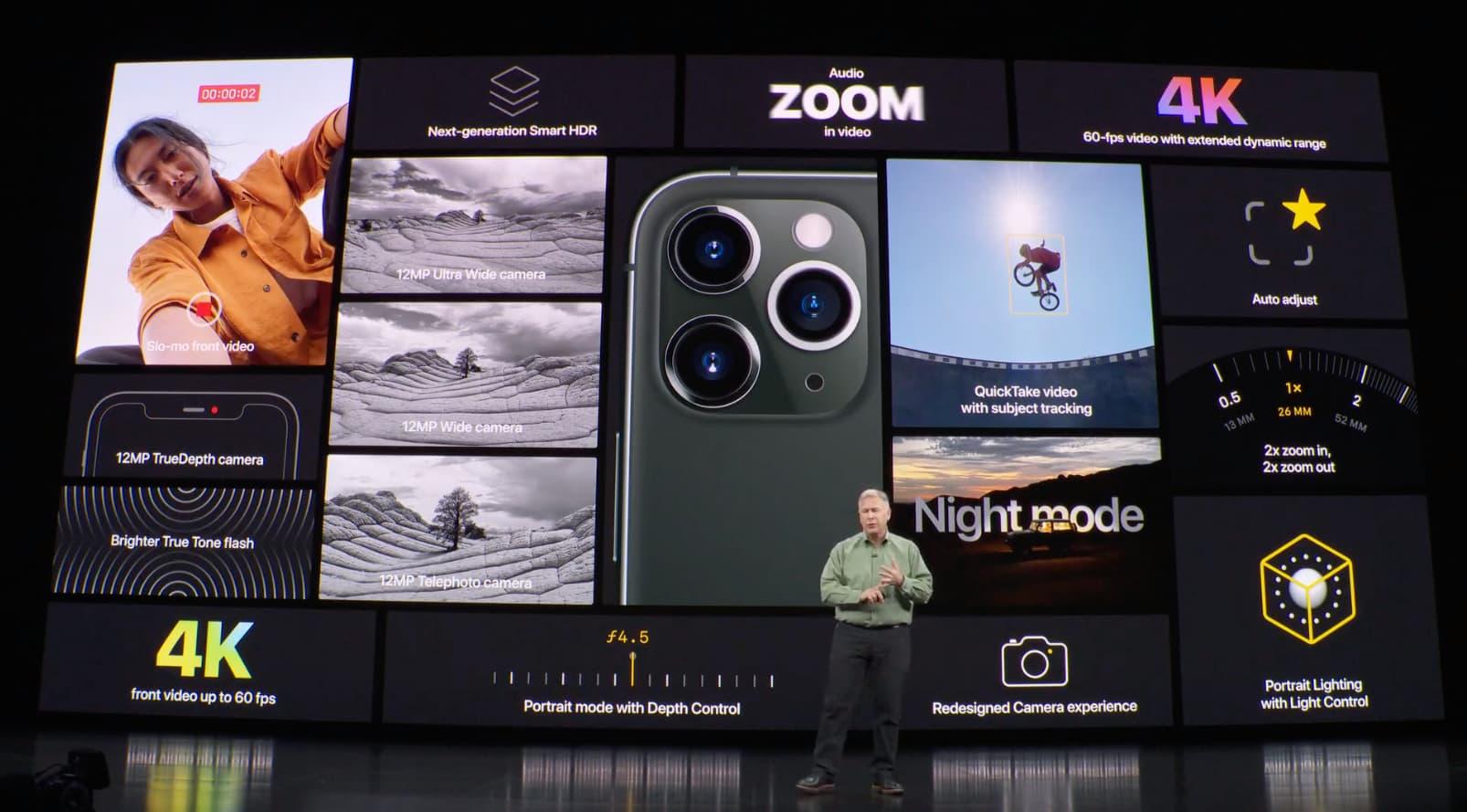 iPhone camera exposure focus compensation value - iPhone 11 Pro press event slide