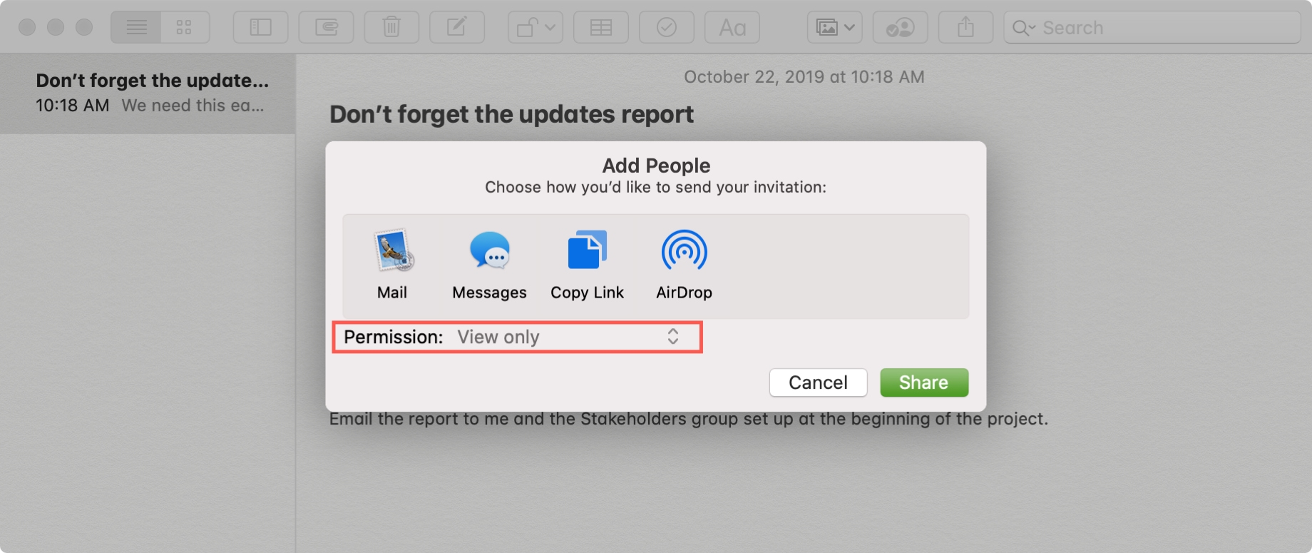 Add People to Share in Notes Mac