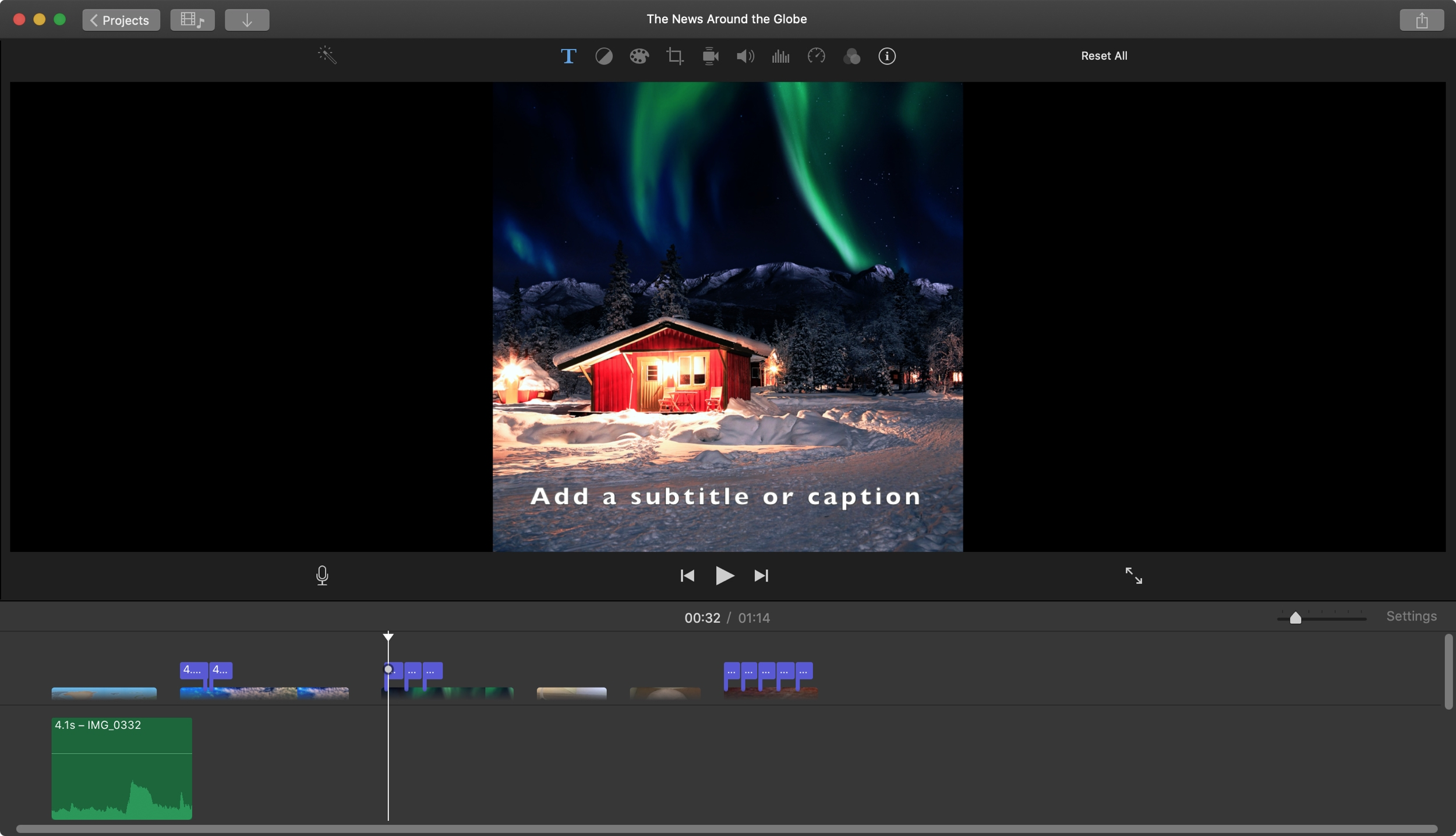 Add Subtitle Caption iMovie Mac