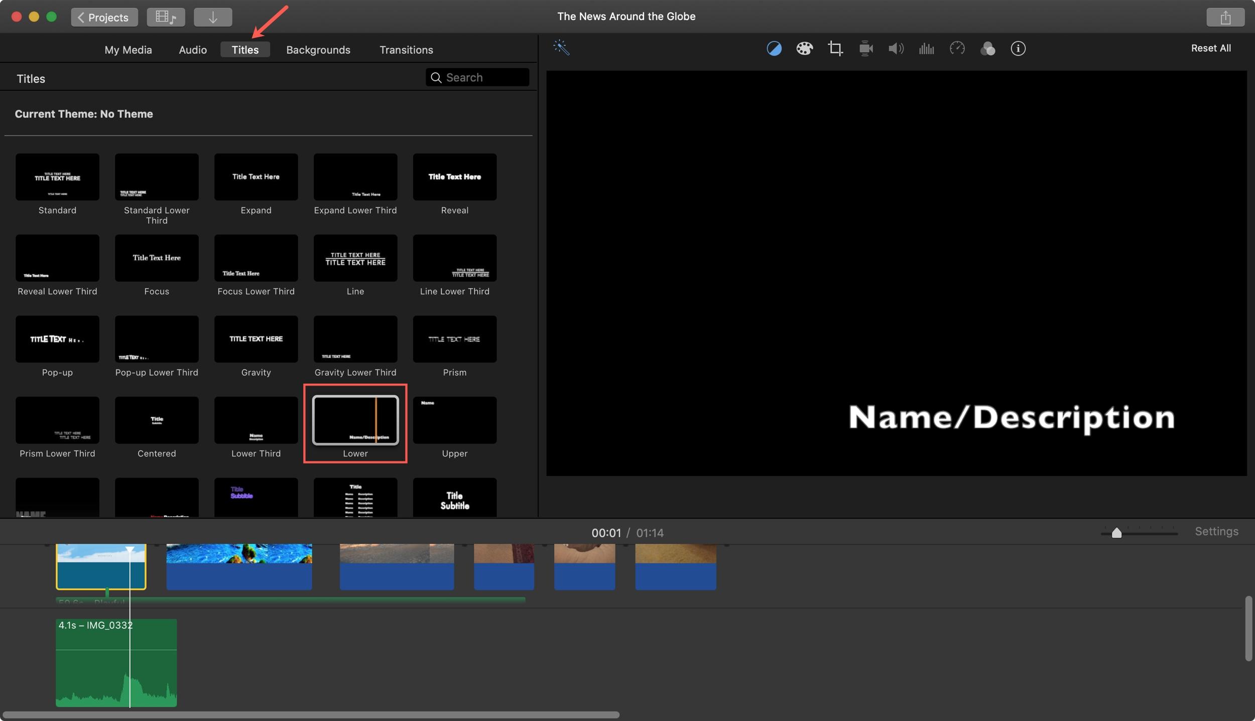 Add Title Clip iMovie Mac