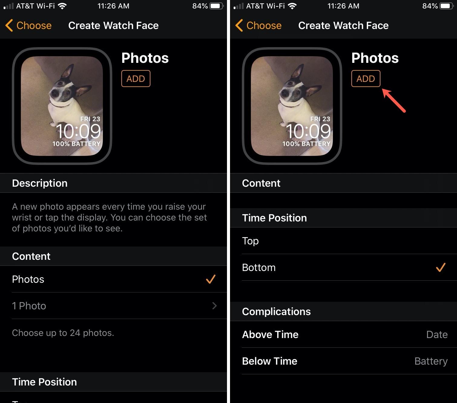 Add Watch Face Photos iPhone