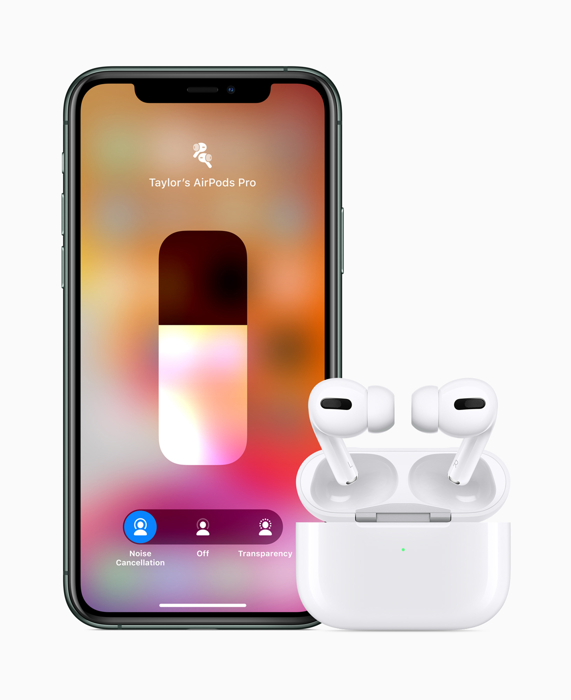 iPhone paired with AirPods Pro