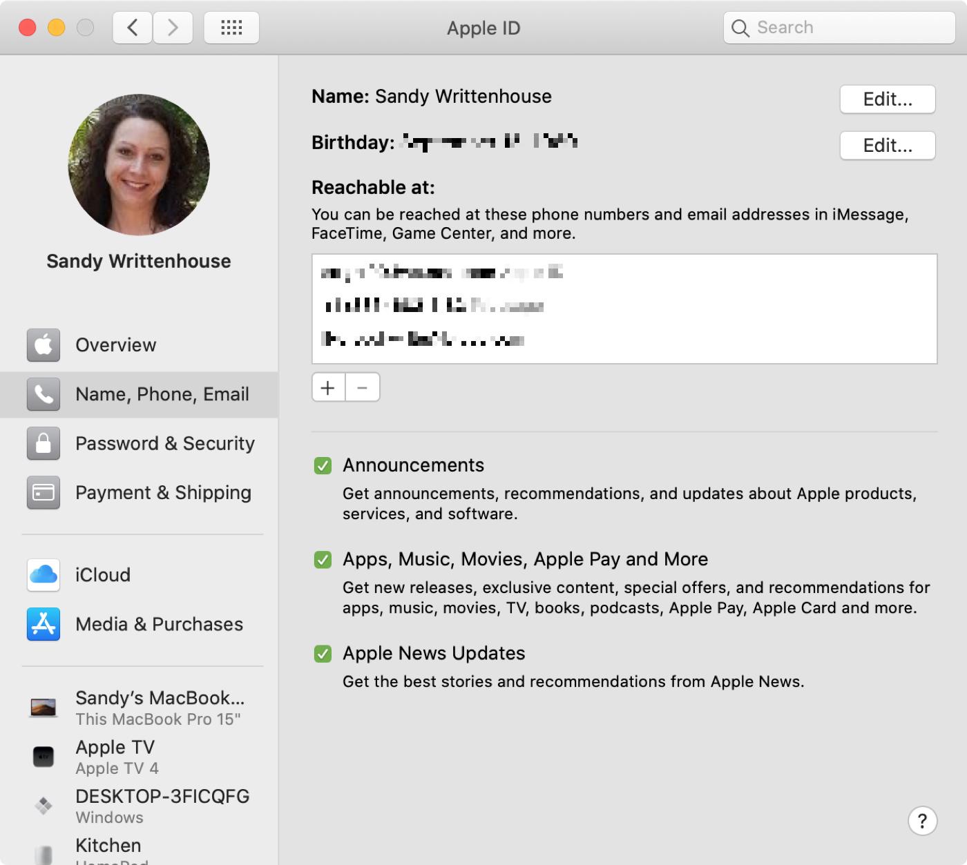 Apple ID Name Phone Email