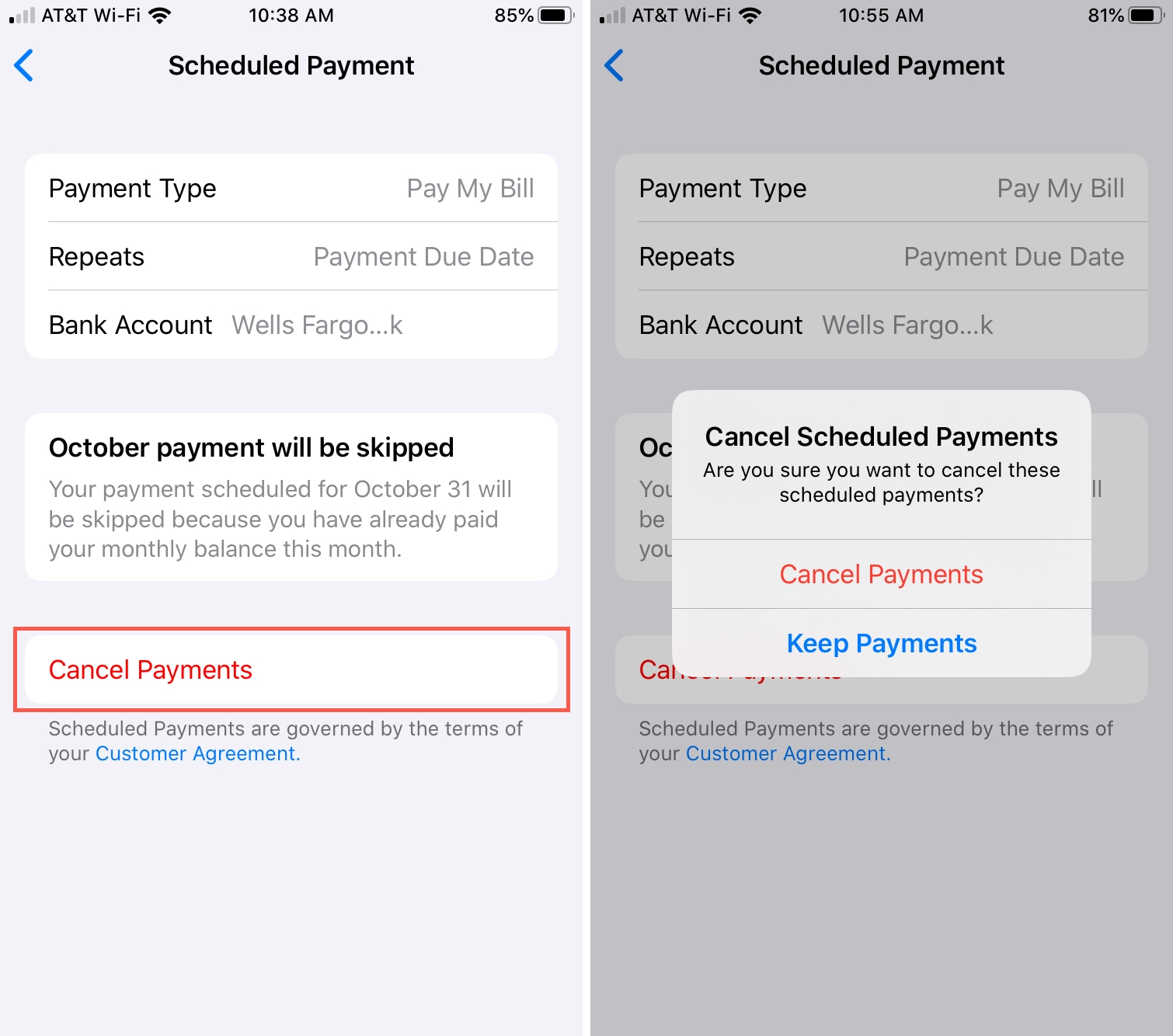 Cancel Scheduled Payments for Apple Card