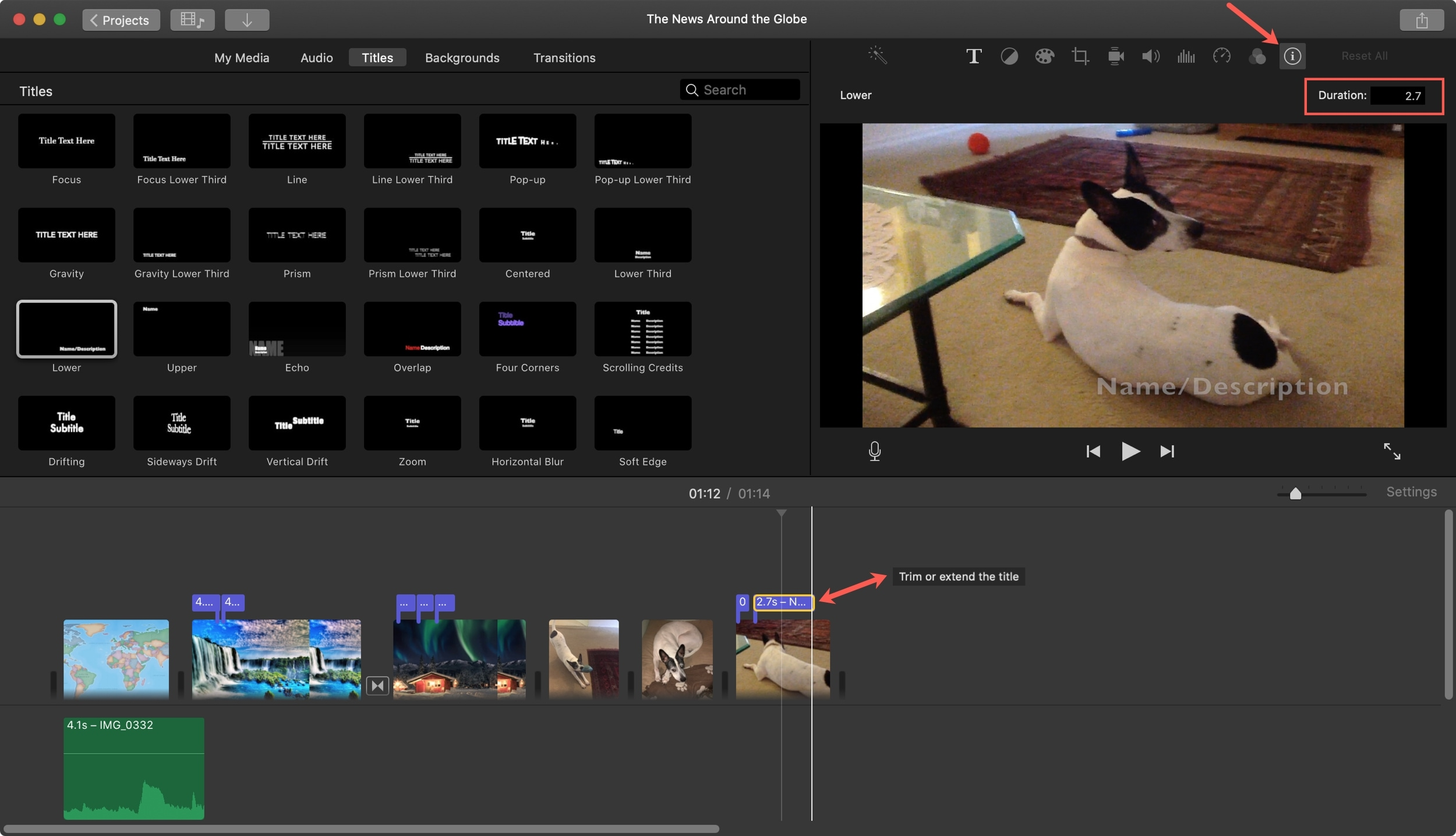 Change Title Duration iMovie Mac