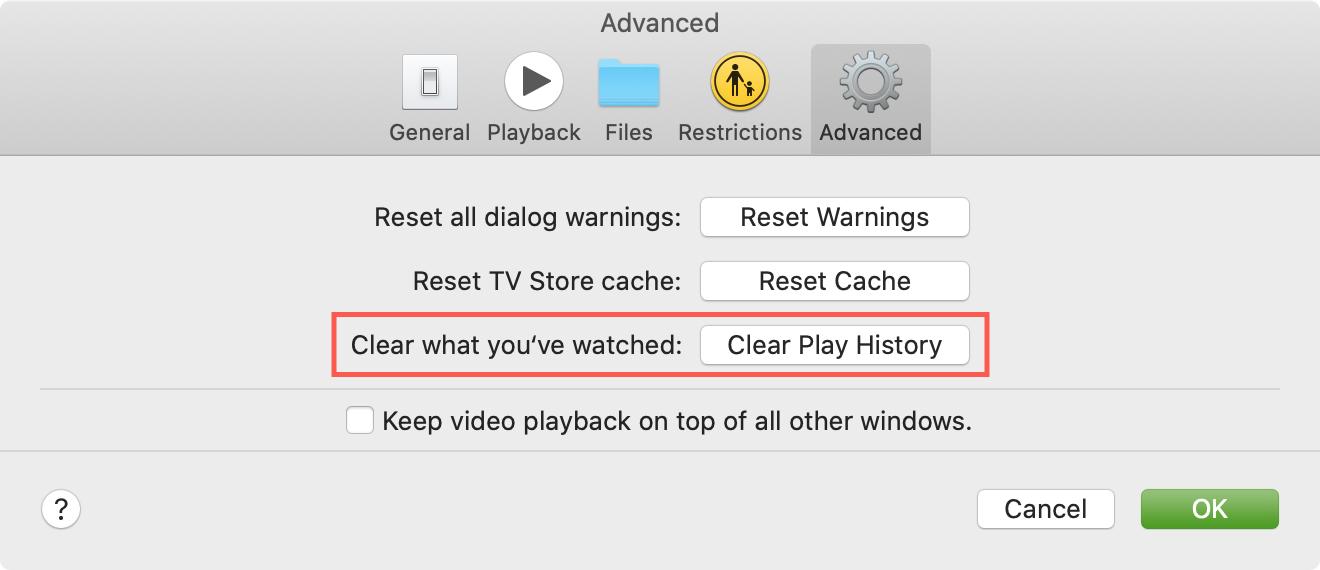 Clear History TV Mac