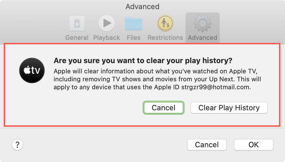 Confirm Clear History TV Mac