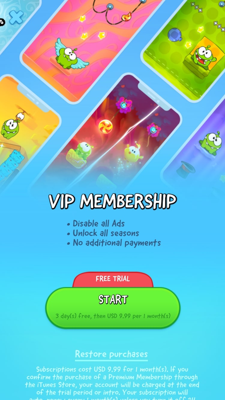 Cut the Rope subscription screen
