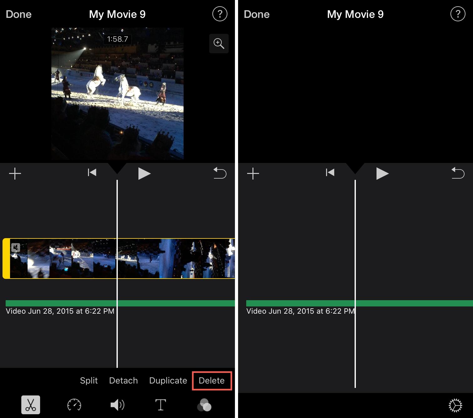 Delete Video iMovie iPhone