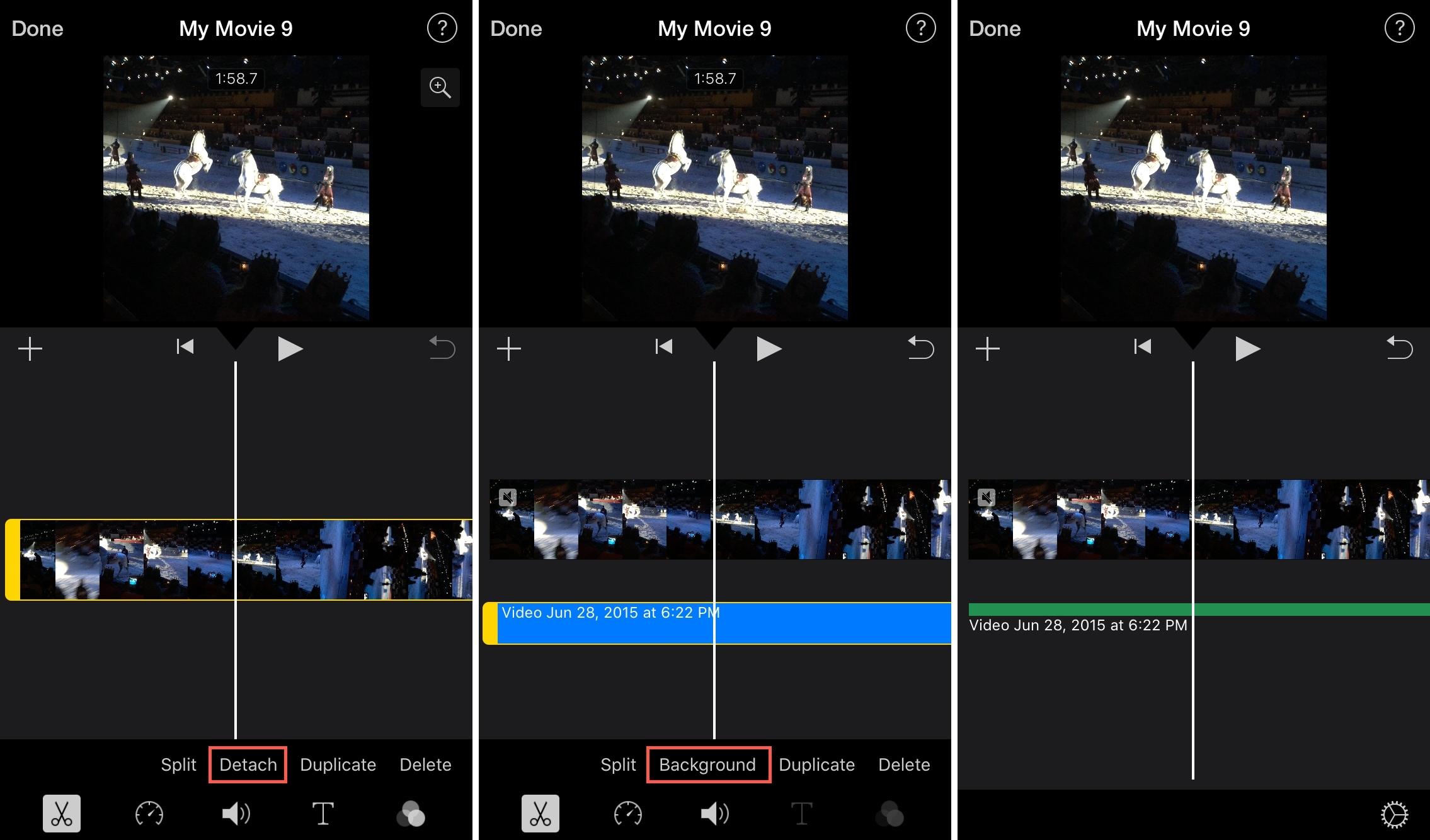 Detach Audio iMovie iPhone