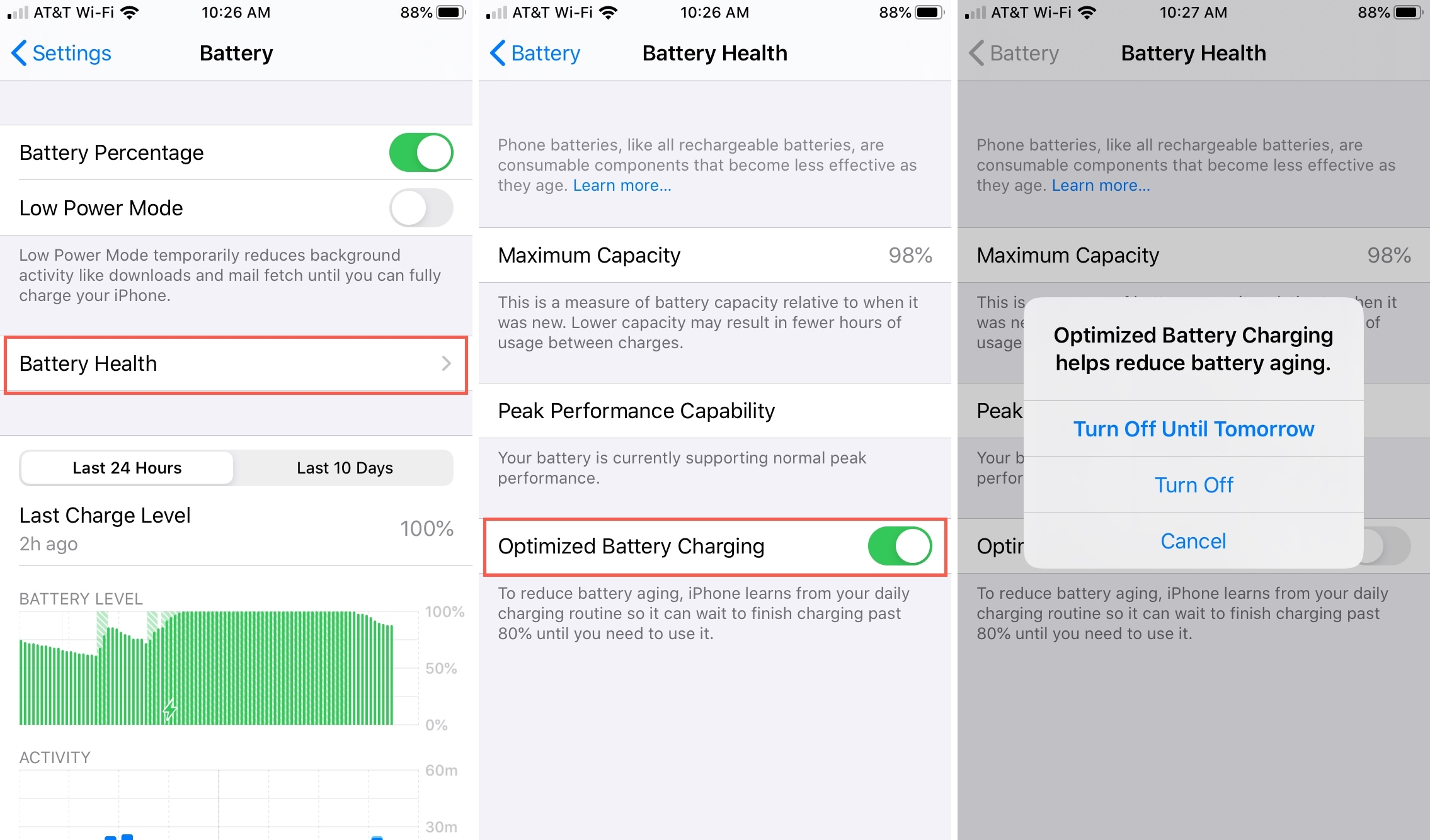 Disable Optimize Battery Charging iPhone