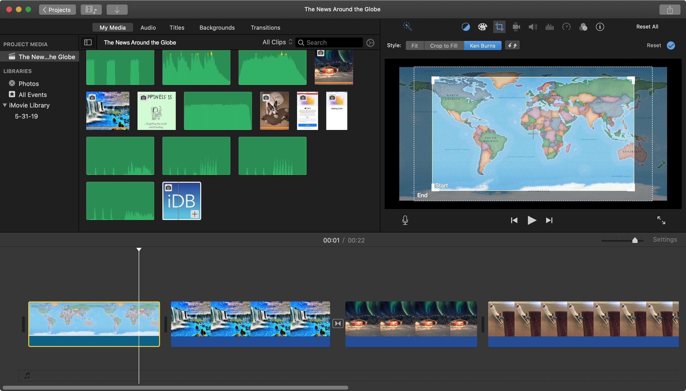 Enable Ken Burns iMovie Mac