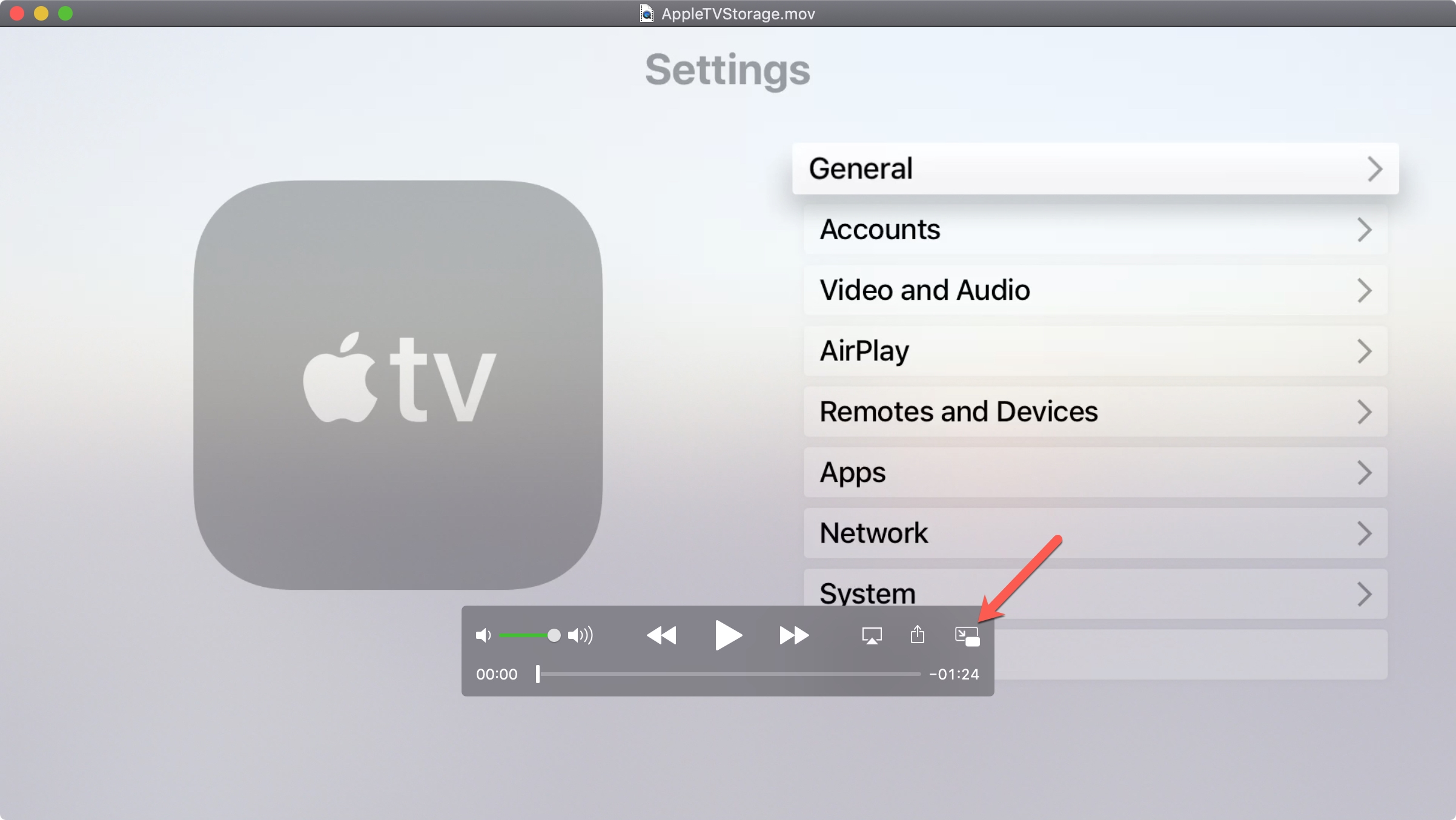 Enable picture-in-picture QuickTime Player