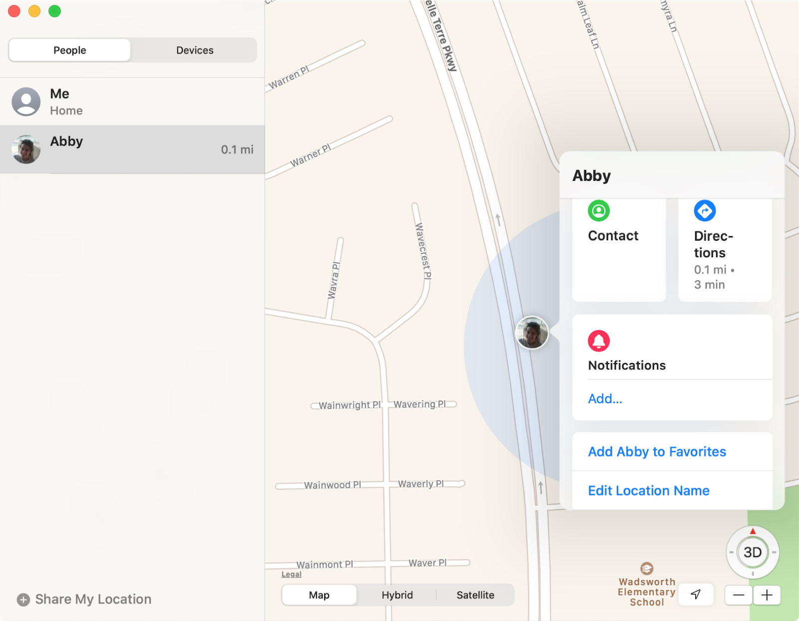Find My app People on Mac