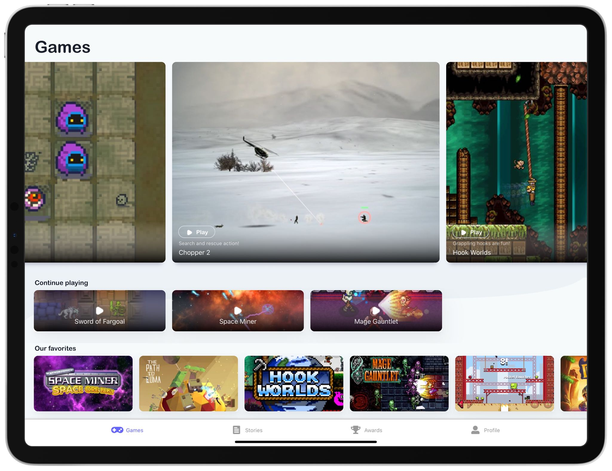 The GameClub games-subscription service on iPad Pro