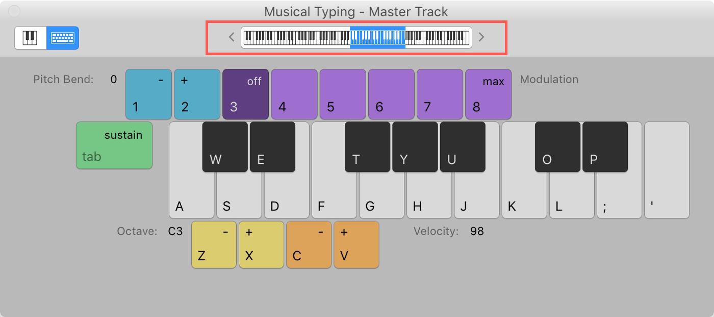 GarageBand Keyboard Key Range Mac