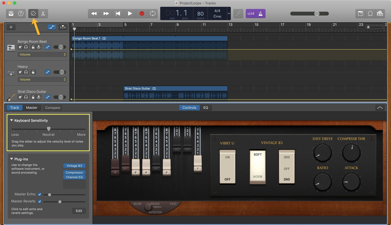 GarageBand Keyboard Sensitivity Mac