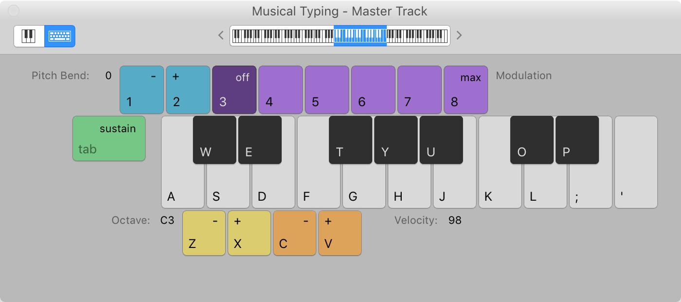 GarageBand Musical Typing Keyboard Mac