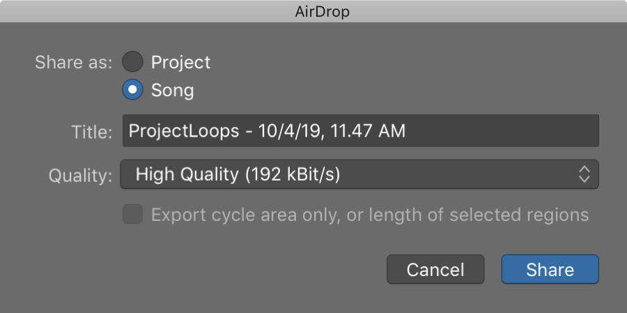GarageBand Share to AirDrop Mac