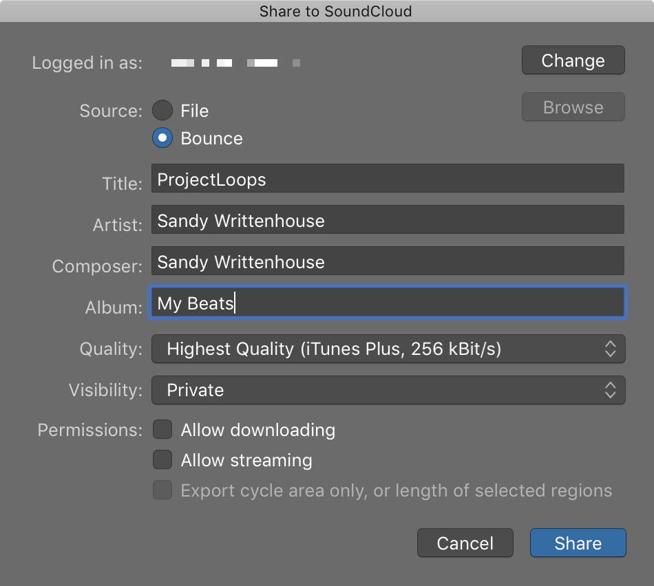 GarageBand Share to SoundCloud Mac