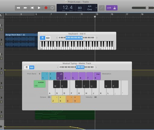 GarageBand Show Keyboard Mac
