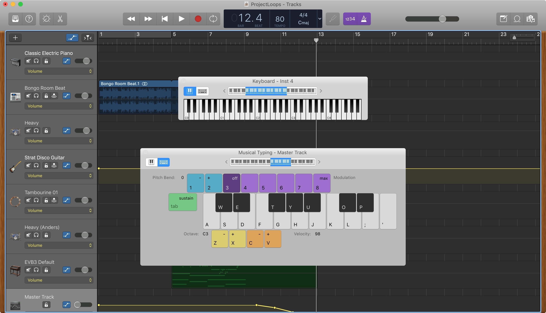 GarageBand Show Keyboard Mac
