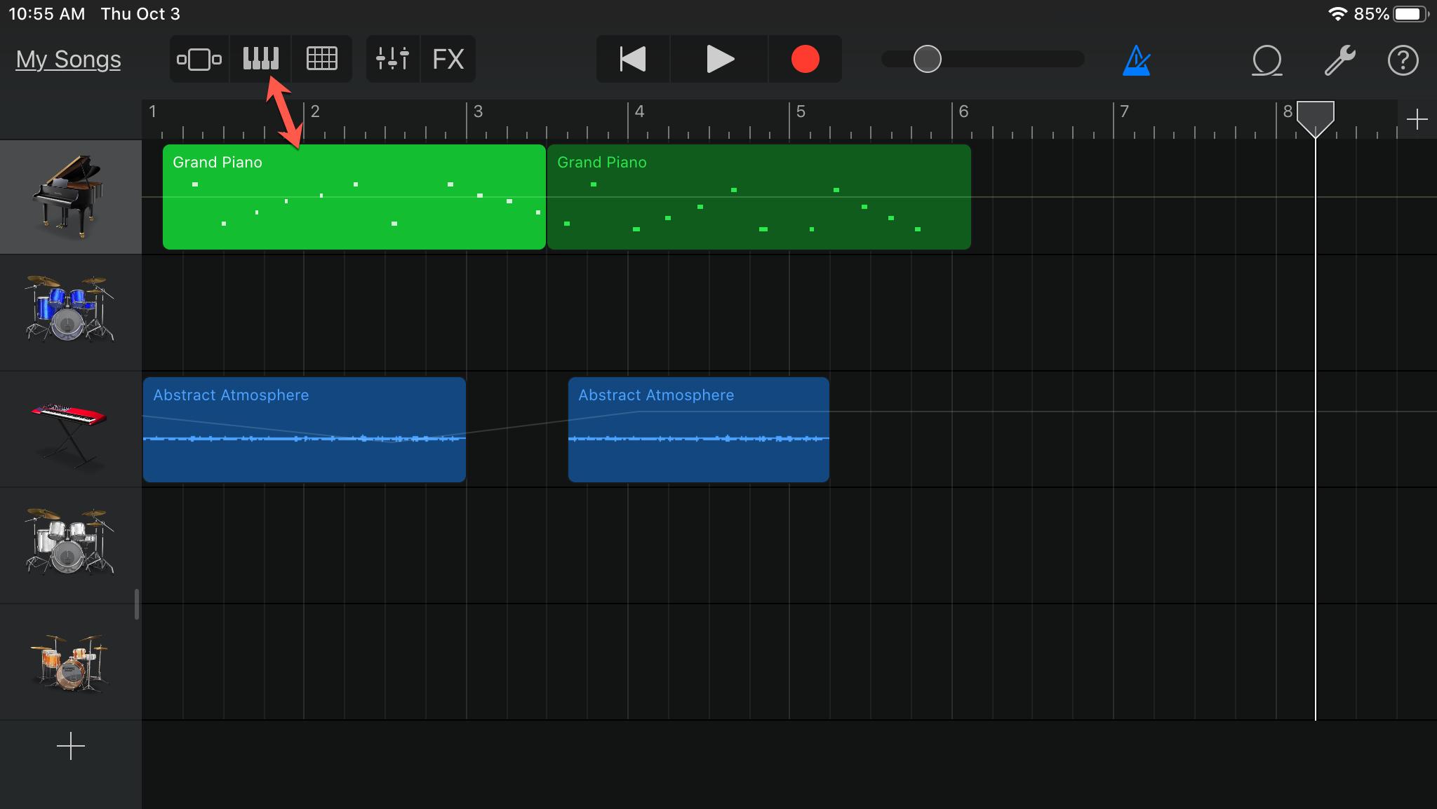 GarageBand Show Keyboard iPad