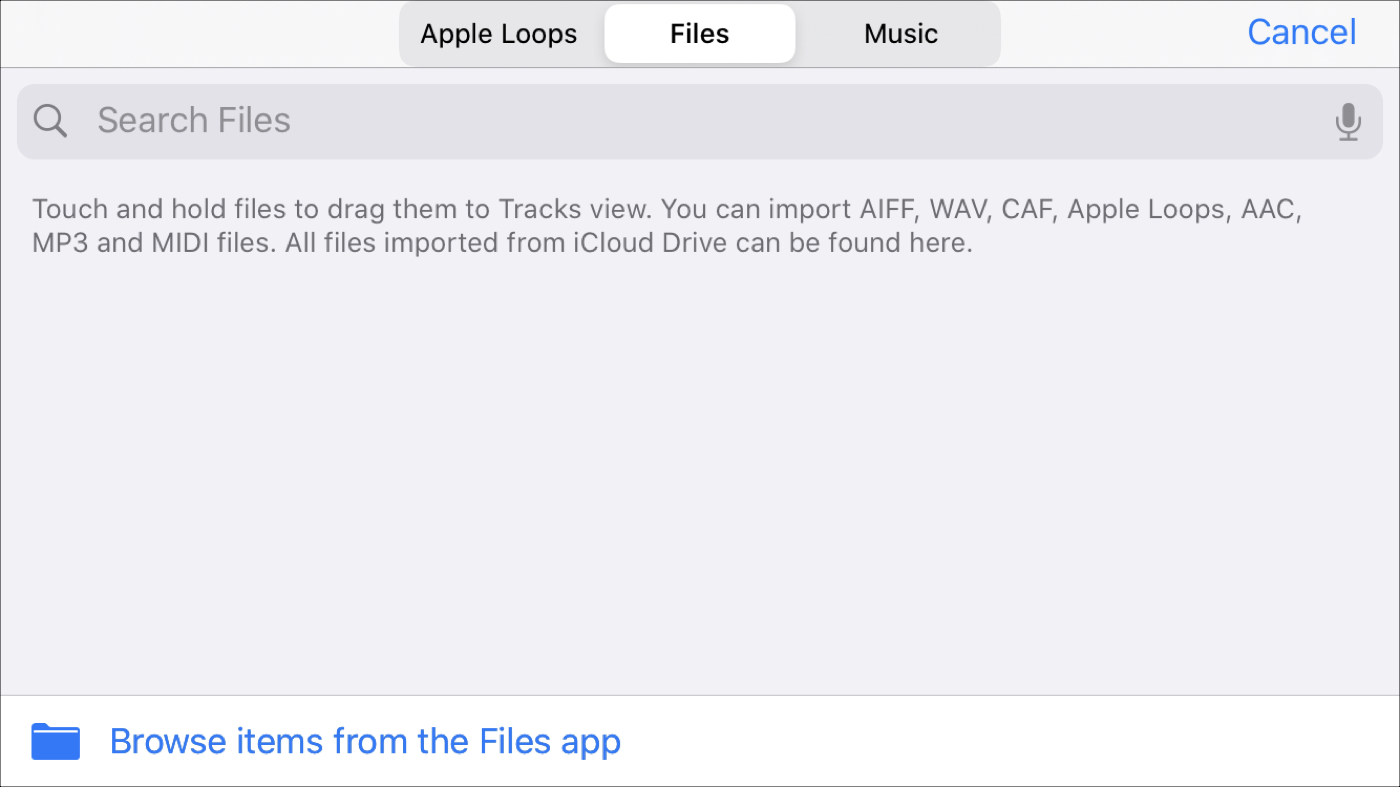 GarageBand import files iPhone