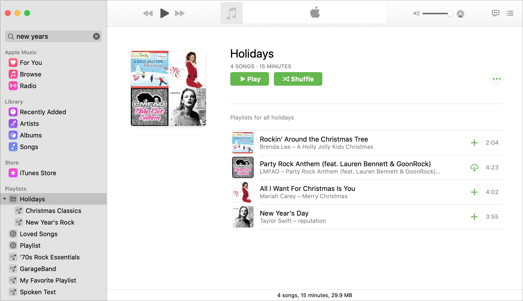 Holidays playlist folder Music Mac