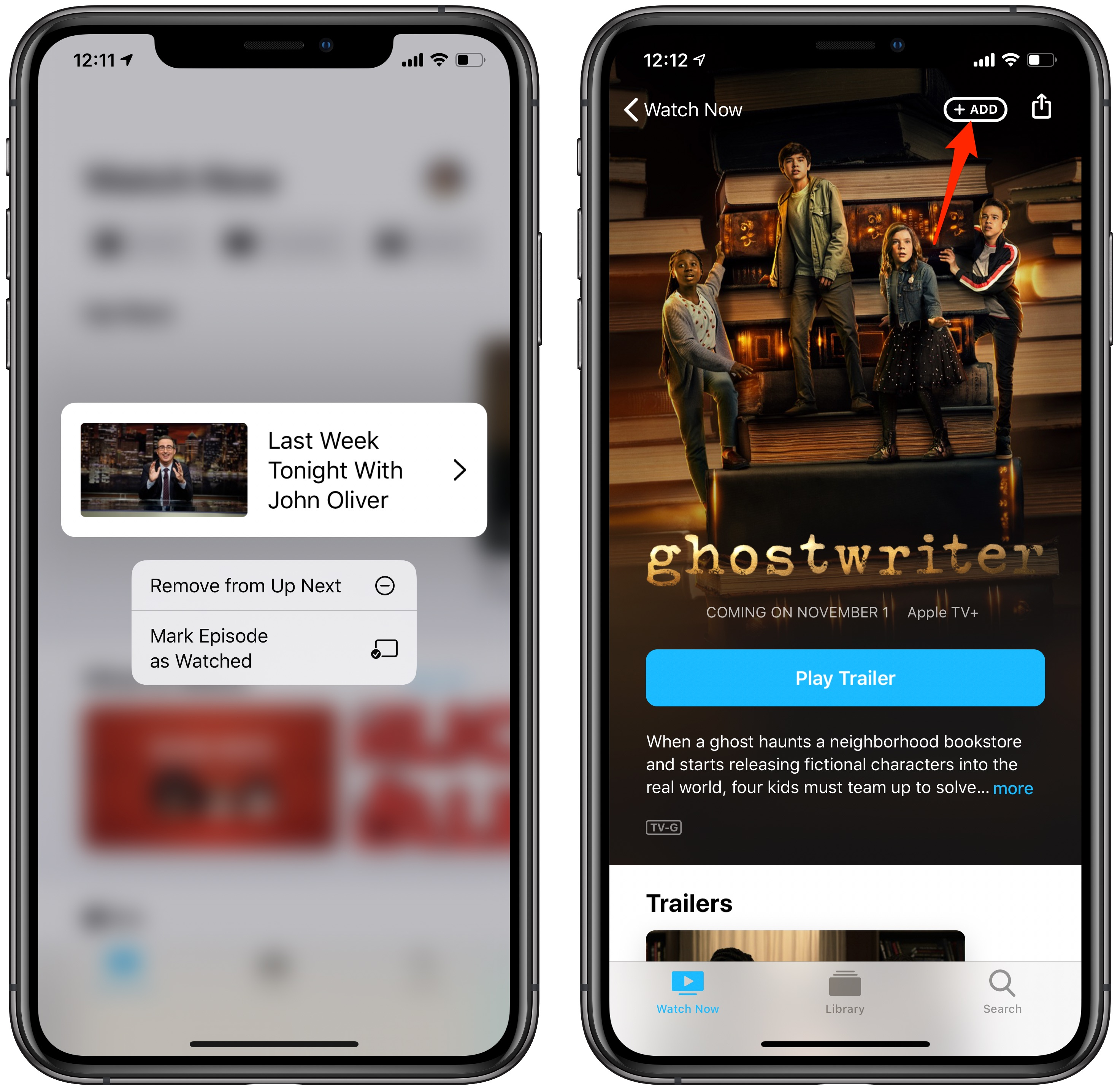 iOS 13.2 features tutorial: contextual menu and a new Add button in the TV app