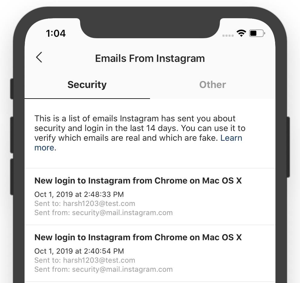 Instagram's new account security feature makes it much easier to spot phishing emails