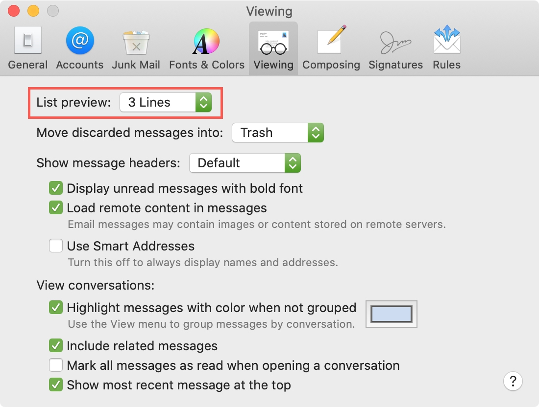 List Preview Lines Mail Mac