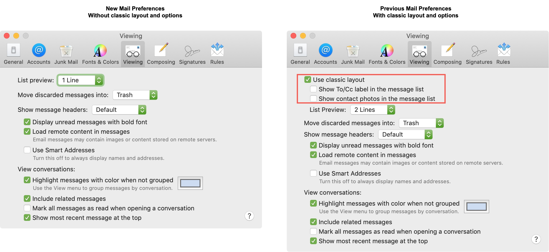 New and Previous Mail Preferences Mac