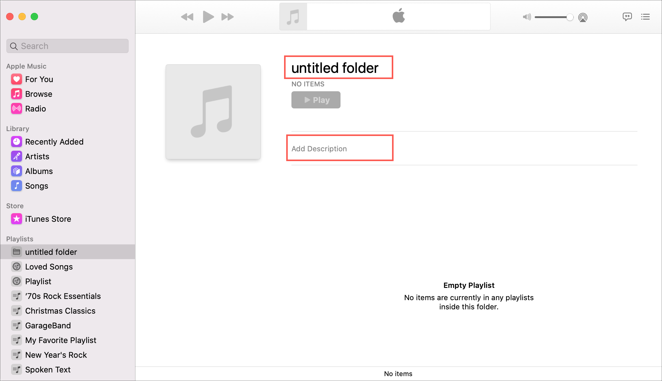 New playlist folder Music Mac