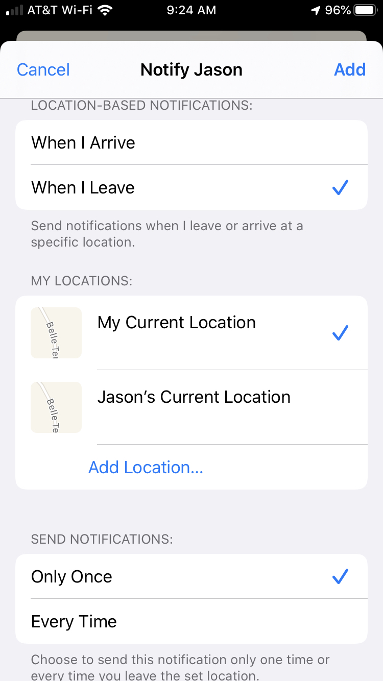 Notify Contact Customize in Find My on iPhone