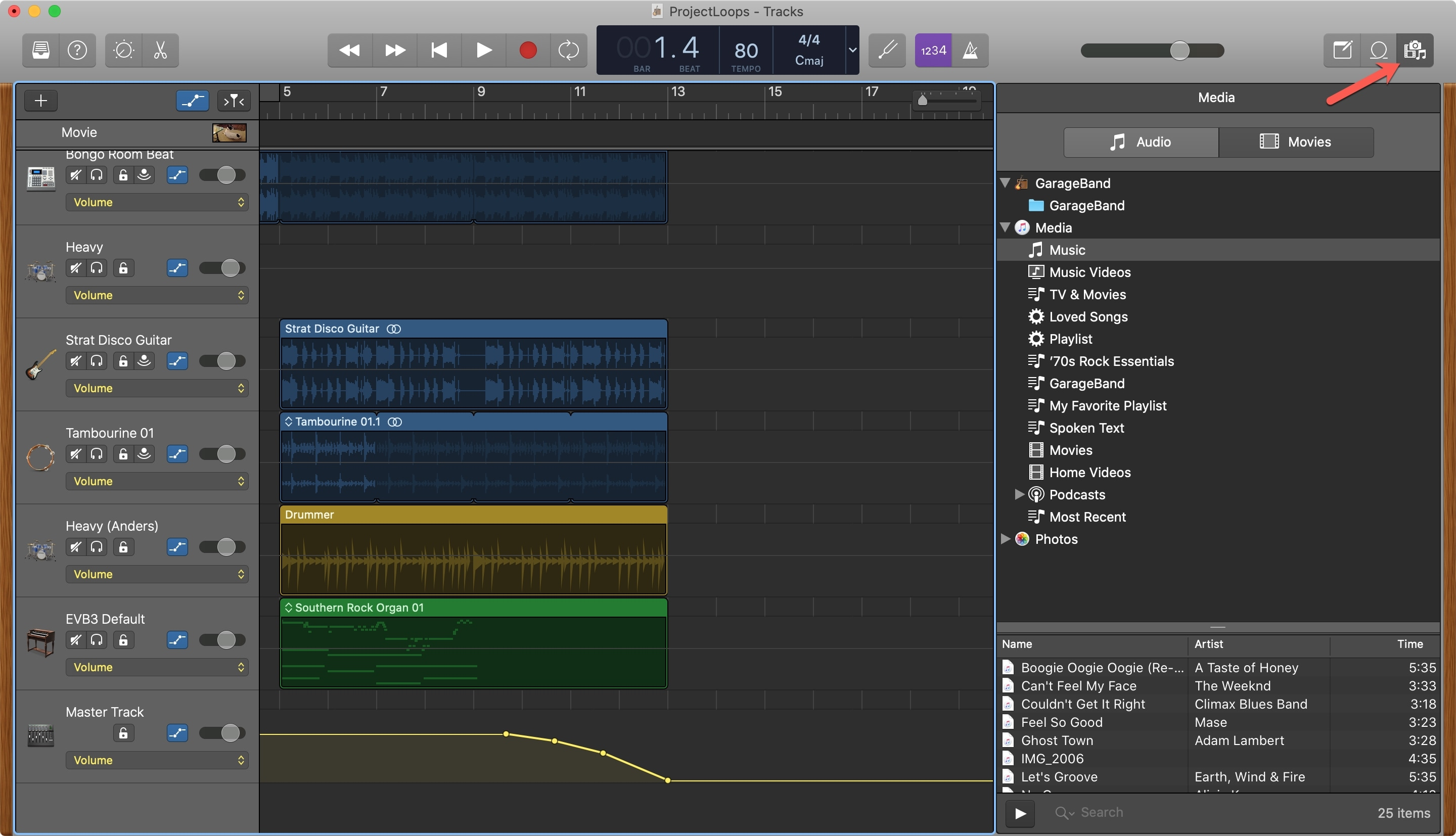 Open Media Browser GarageBand Mac
