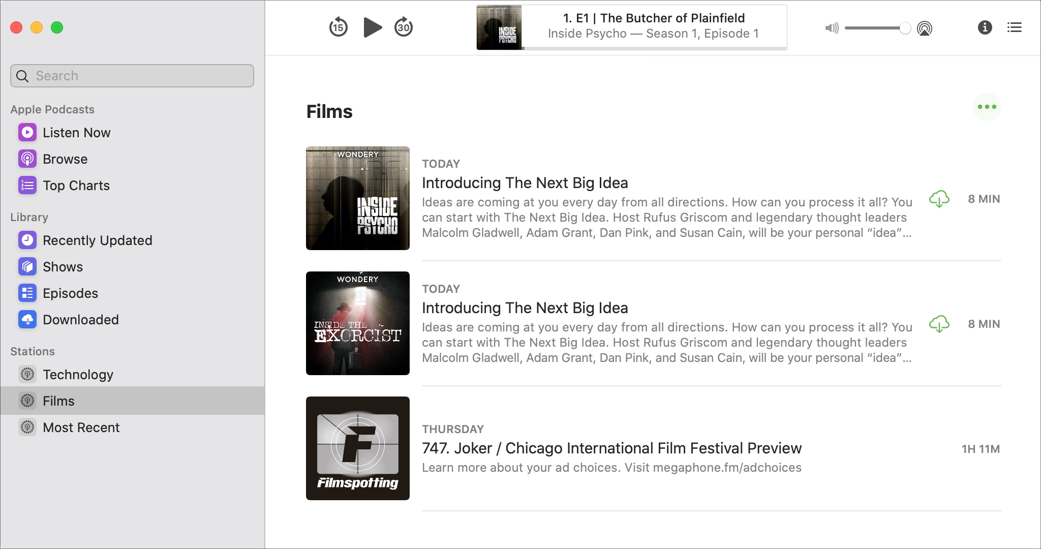 How to create a station in the Podcasts app on Mac