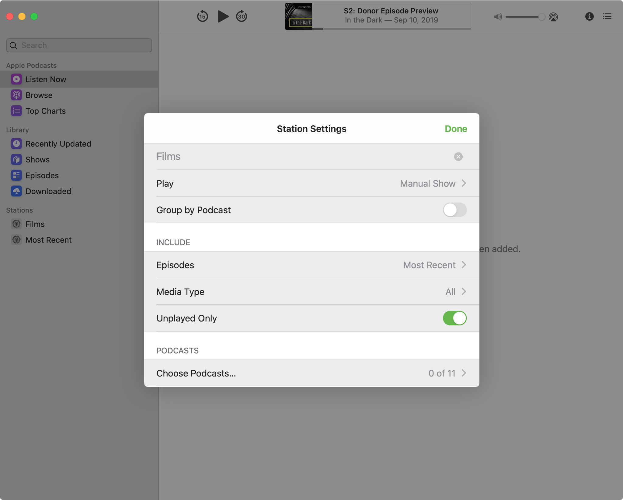 Podcasts Station Settings Mac