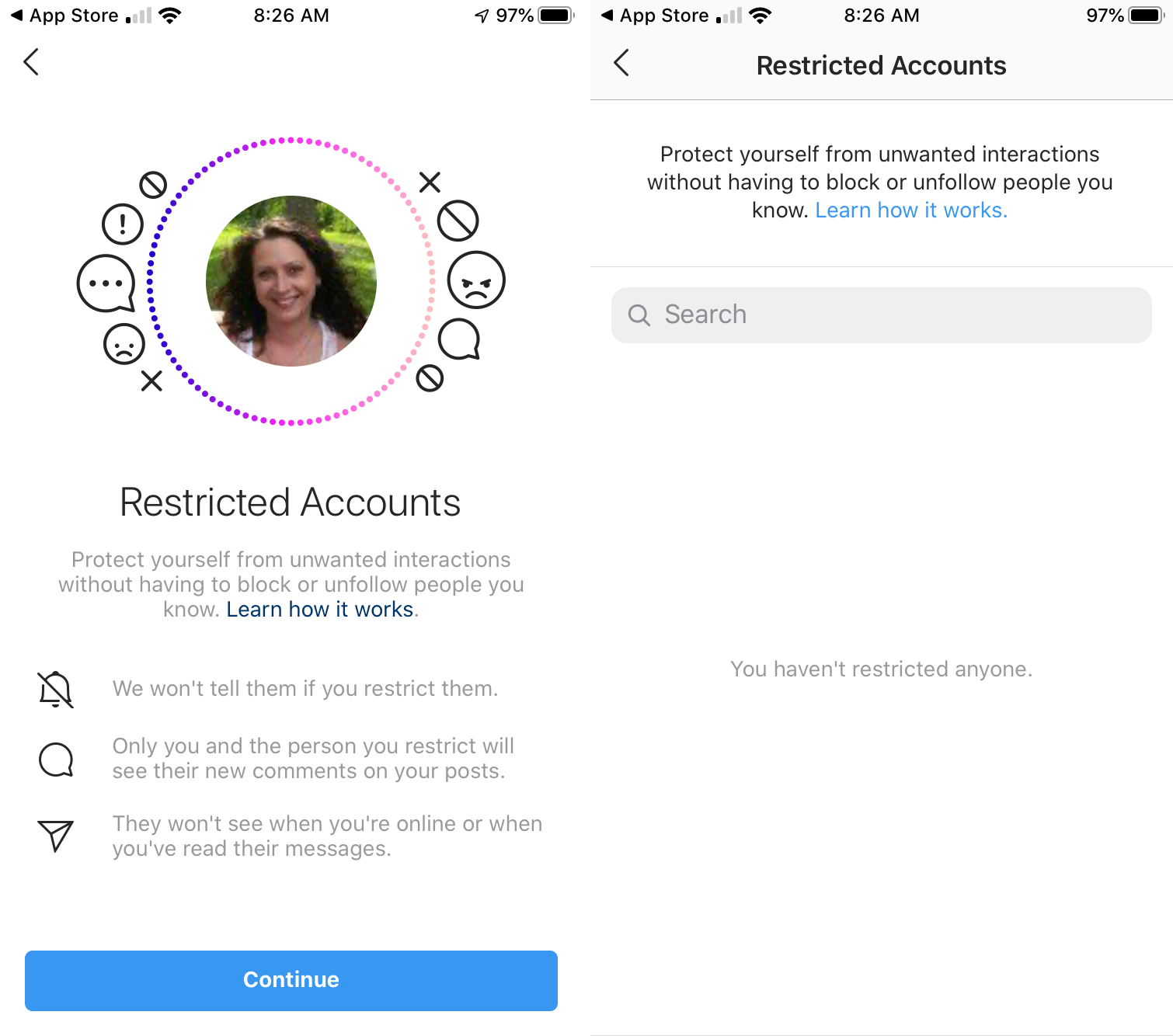 Restrict User Search Instagram