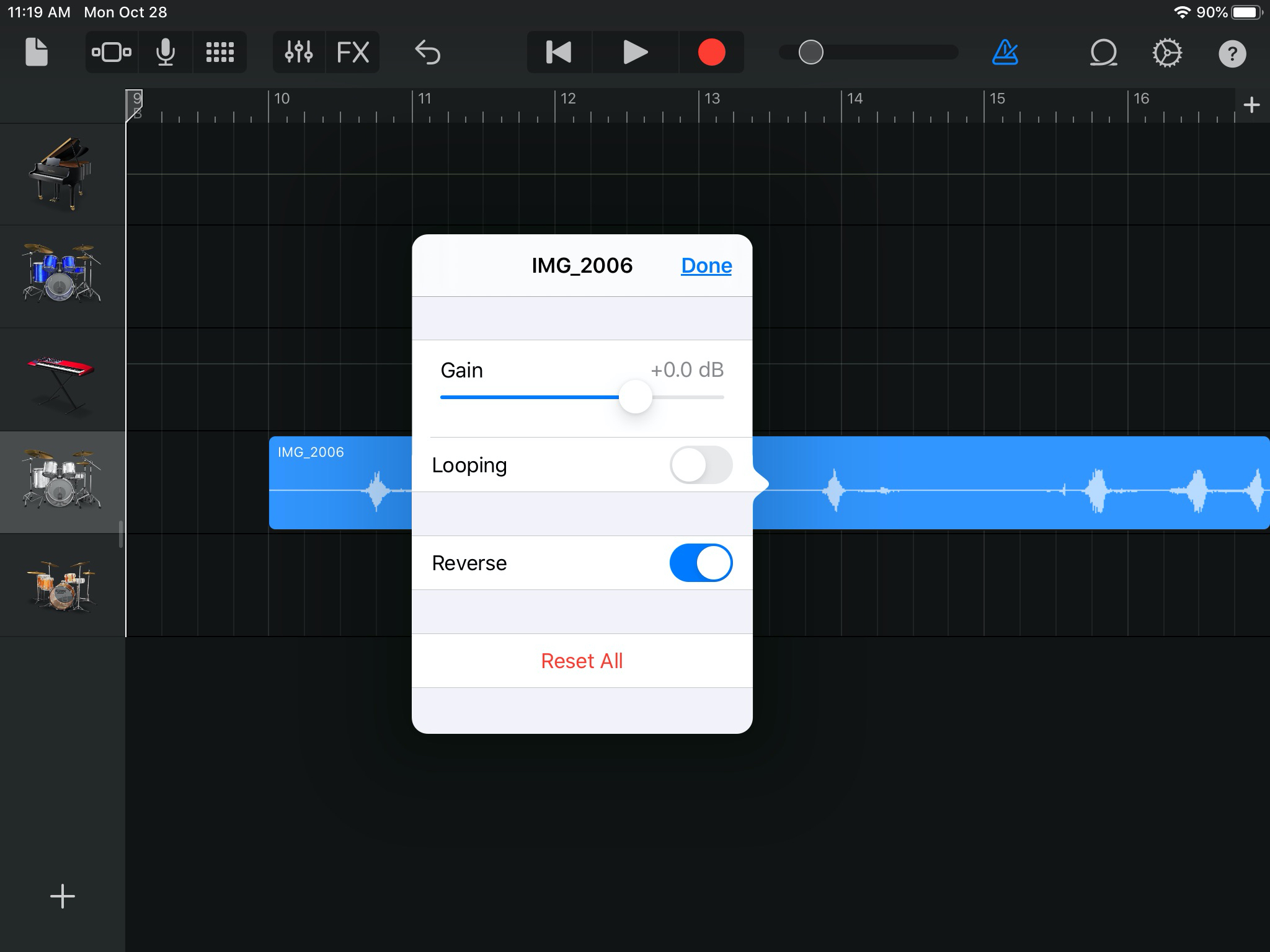 How to reverse a track in GarageBand on Mac and iOS