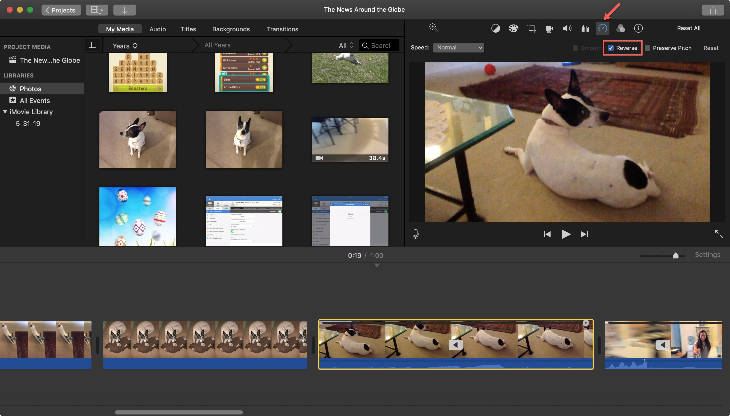 Reverse Video Clip in iMovie Mac