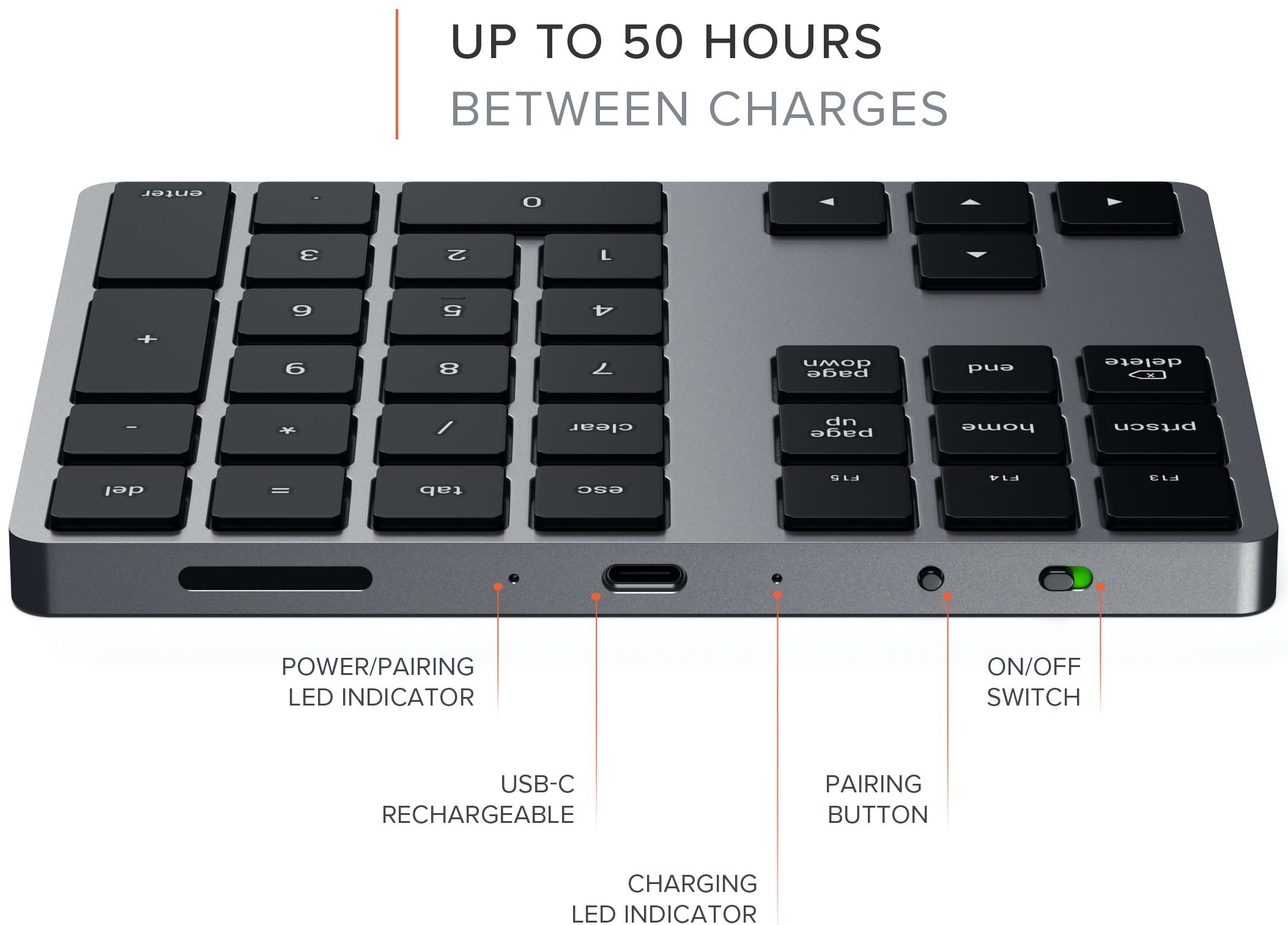 Satechi Bluetooth Extended Keypad diagram