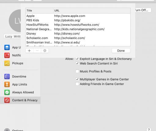 Screen Time Allowed Websites List Mac