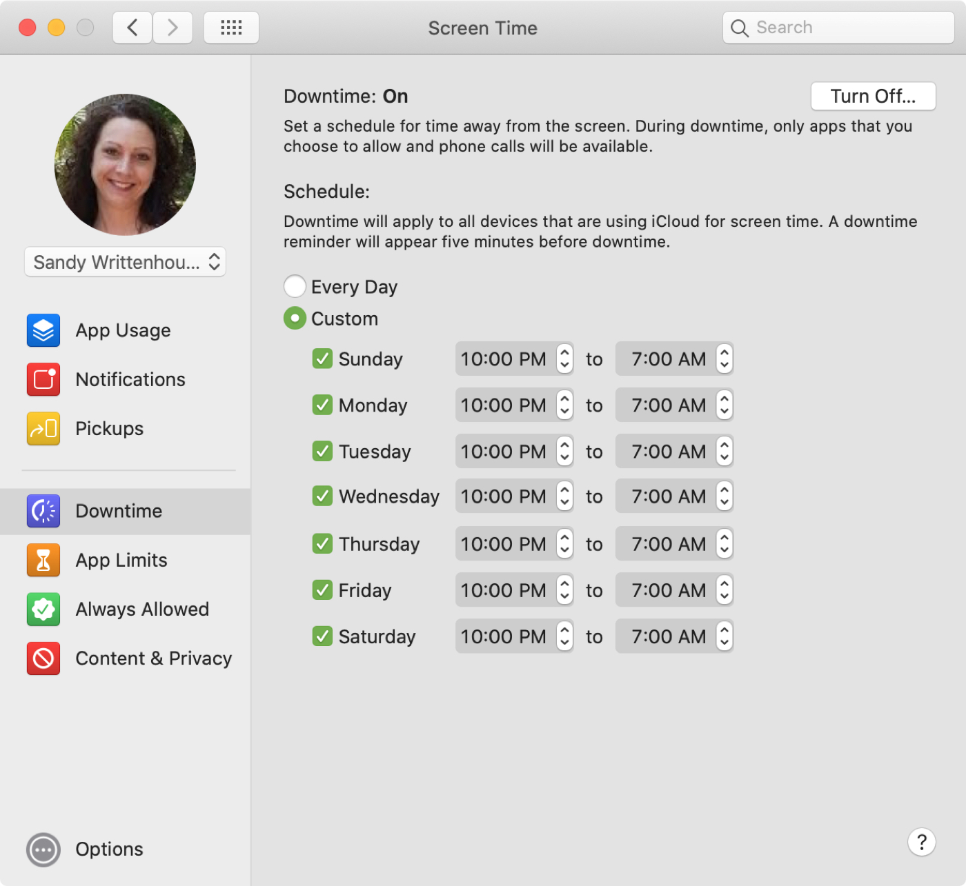 Screen Time Downtime on Mac